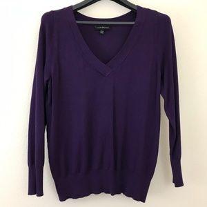 Lane Bryant 14/16 Sweater Purple V Neck Ribbed Hem